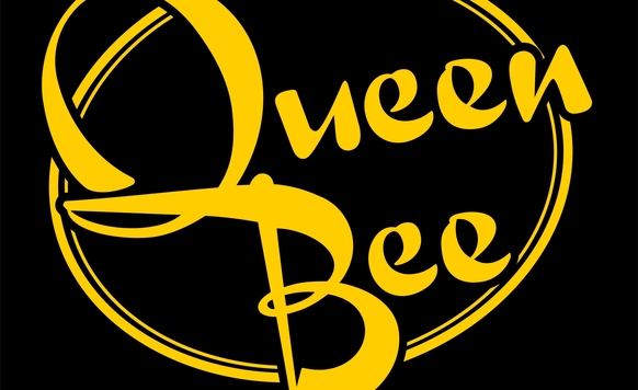 Owl image queen bee black and yellow logo