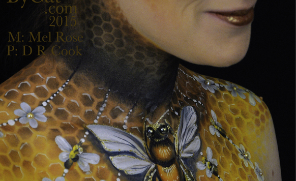 Owl image bee neck bodypaint on mel by cat pics dr cook grin bpc